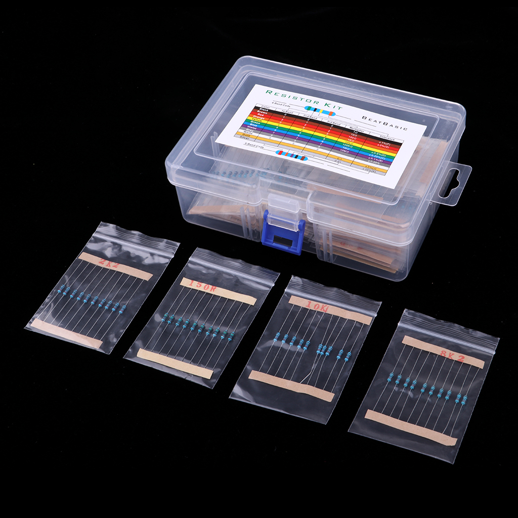 Resistor Assortment Kit - Set Of 1000 Assorted Resistors Box Kit 1R -10M Ohm