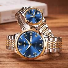 Casal automático relógio de pulso mecânico marca superior luxo duplo calendário tungstênio pulseira aço à prova dwaterproof água amantes relógio