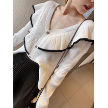 New Autumn Sweater 2019 Korean Version V-neck Long Sleeve Big Lotus Leaf Knitted Cardigan V-Neck Cardigans Sweaters