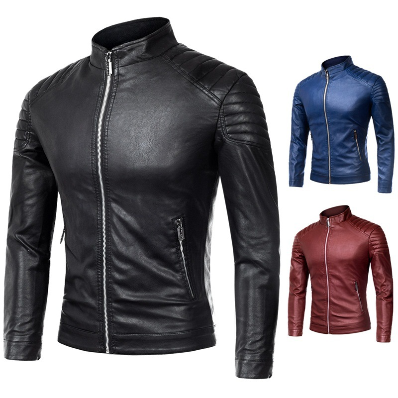 Perennial Men's Trend Stand Collar Zipper Fashion PU Leather Coat Jacket Fashion Man Slim Fit Leather Jacket
