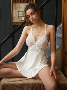 Image 4 - סקסי הלבשה תחתונה כותנות לילה נשים הלבשת קיץ דק קרח משי תחרה פיתוי פרספקטיבה רצועת כותונת לילה שמלה