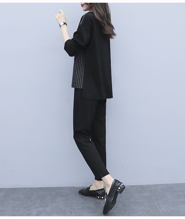 L-5xl 2019 Autum Black Two Piece Sets Outfits Women Plus Size Striped Splicing Tops And Pants Suits Elegant Office Casual Sets 29