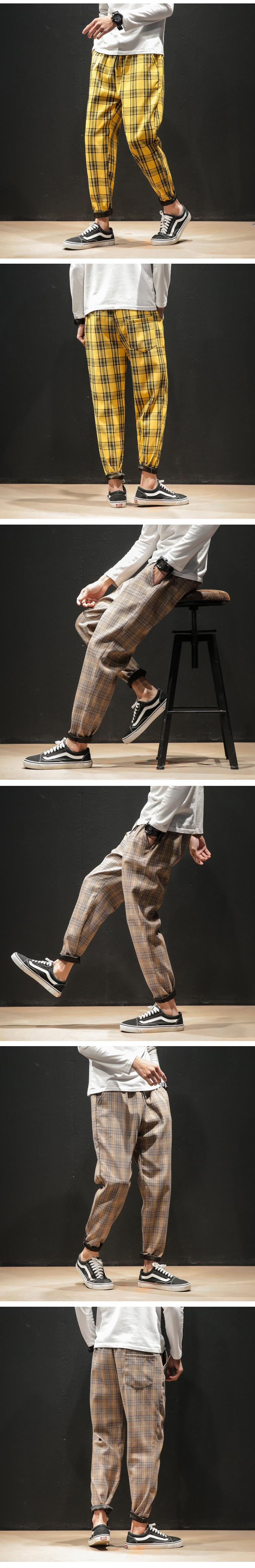 H56e94545b1f243f388e94a4515458f57t Dropshipping Japanese Streerwear Men Plaid Pants 2019 Autumn Fashion Slim Man Casual Trousers Korean Male Harem Pants