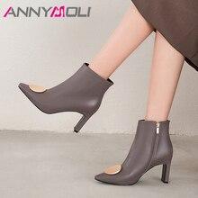 купить ANNYMOLI Women Boots Autumn Ankle Boots Natural Genuine Leather Block High Heel Short Boots Zipper Square Toe Shoes Ladies 34-39 дешево