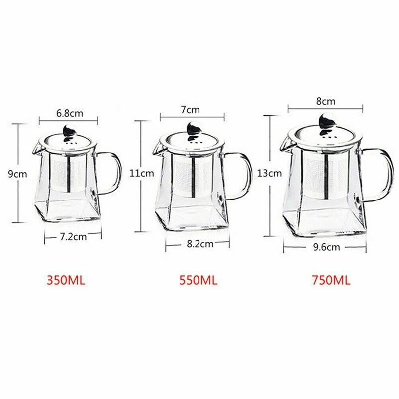 350-750ML Clear Heat Resistant Clear Glass Teapot Jug W Infuser Coffee Tea Leaf Herbal Pot Flower Teapot Milk Juice Container 4