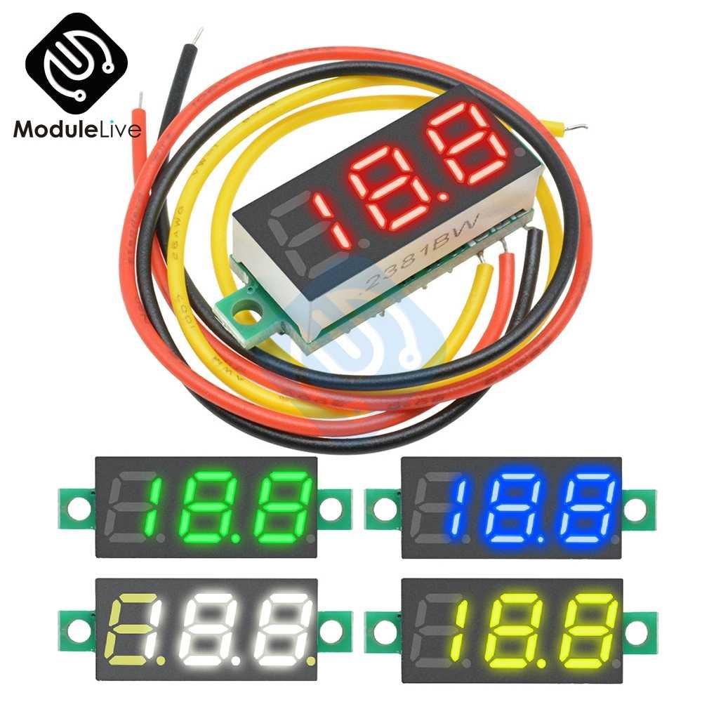 0.28 Inci 0.28 Inci 3 Bit Kawat Mini DC Digital Tabung Panel Voltmeter PANEL MOUNT LED Tegangan Meter Tester Volt