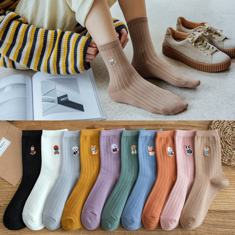 10 pieces = 5 pairs Women's Cotton Striped 2020-New Style Autumn and Winter Embroidered Animal Socks women