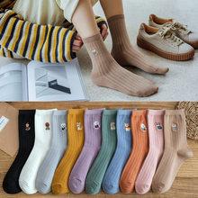 10 peças = 5 pares de algodão feminino listrado 2020-novo estilo outono e inverno bordado animal meias femininas