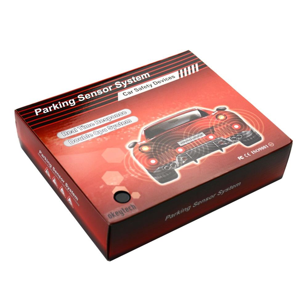OkeyTech Reversing Camera Parktronic Led Back Up 8 Sensors Car Parking Sensor Kit Reverse Radar Detector System Monitor Drill