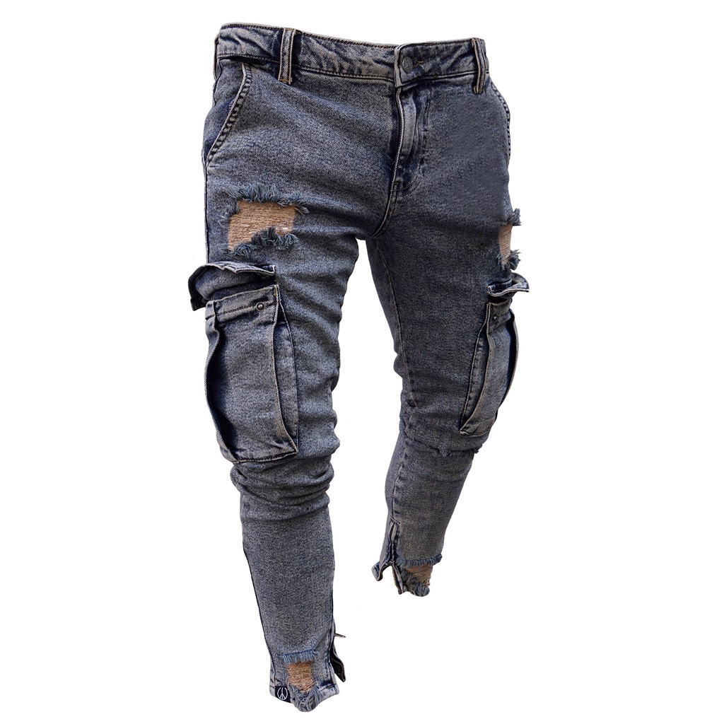 Hot Fashion Men Jeans Hip Hop Cool Streetwear Biker Solid Hole Ripped Skinny Jeans Slim Fit Mens Clothes Pencil Jeans 11.21