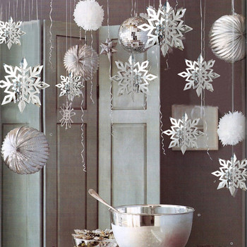 Merry Christmas Decorations for Home 6Pcs Paper 3D Hollow Snowflake Christmas Ornaments New Year 2021 Xmas Navidad 2020 Natal merry christmas decorations for home christmas 2020 ornaments navidad noel xmas natal deco new year 2021 gift kerst decoratie