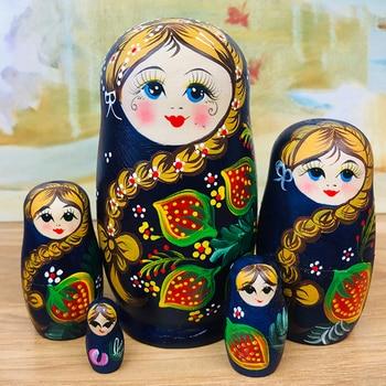 5pcs Russian Matryoshka Dolls Basswood Creative Cute Girl Nesting Dolls Gift Russian Traditional Feature Ethnic Style DIY Dolls 5pcs set russian nesting dolls wooden matryoshka doll handmade painted