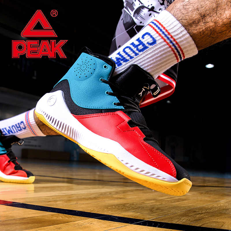 PEAK รองเท้าบาสเกตบอลชาย 2019 ใหม่ High-Top CUSHIONING รองเท้าผ้าใบกลางแจ้งสวมใส่ลื่นกีฬารองเท้า