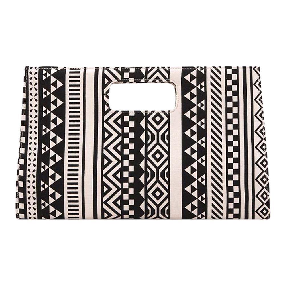 New Wild Geometric Pattern Atmospheric Canvas Clutch Bag Women Briefcase Handbag Simple Fashion Women Briefcase