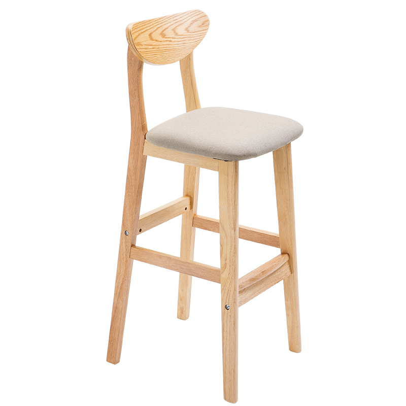 Bar Chair Solid Wood High Stool Bar Table Chair Bar Chair Domestic Chair High Stool Backrest Bar Stool Nordic Chair