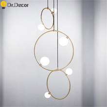 Nordic Home Decor Ring Glass Pendant Lights Modern Living Room Bedroom Luxury Pendent Lamp Kitchen Hanging Lamps Light Fixture