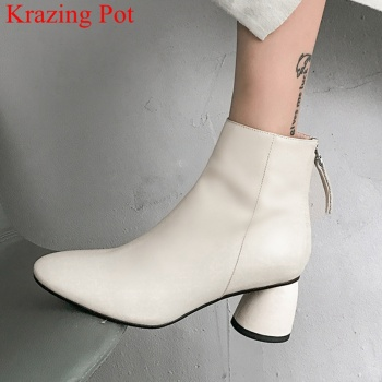 handmade round toe genuine leather high heels zipper women ankle boots elegant dress solid fashion boots warm winter shoes L19