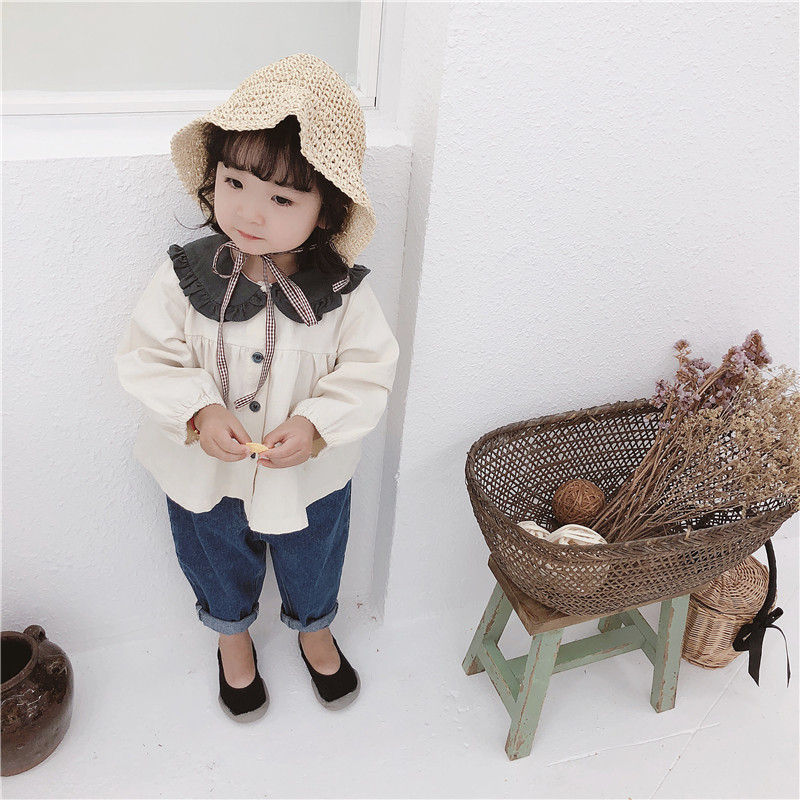 2019 Spring New Style Childrenswear Korean-style Girls Contrast Color Peter Pan Collar Cotton Linen GIRL'S Shirt Cardigan CHILDR