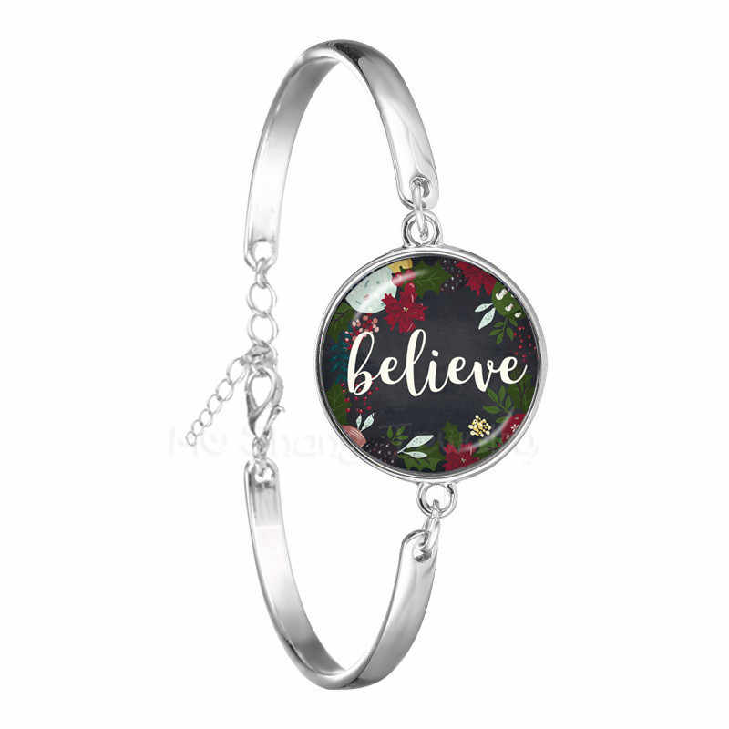 Pulsera de moda de la esperanza cree con estampado de la letra de la cúpula de cristal de 18mm brazalete de la Biblia para Mujeres Hombres cita regalos de la joyería cristiana