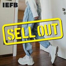 Causal-Pants Blue Trousers IEFB Elastic-Waist Loose Black Korean Streetwear Men's Denim