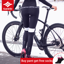 Padded Cycling-Pants Tights Sport-Trouser Santic Windproof Bicycle Mountain-Bike Winter