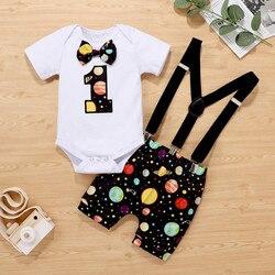 Новая детская одежда для мальчиков для дня рождения; Возраст 1 год звезда звёздное небо с принтом Комбинезон, спортивный костюм + галстук-баб...
