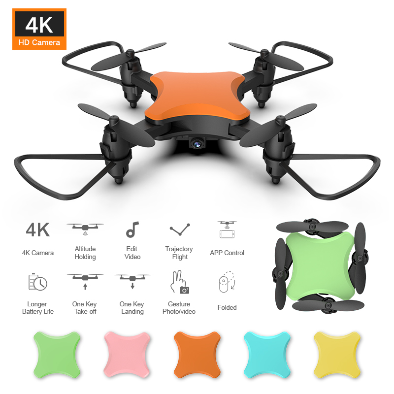 Mini Drone KY902S 4K HD Camera DIY Five Color Drone Aerial RC Folding Four Axis Children Gift Toy VS LF606