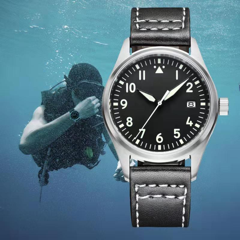 Japón NH35 Pilot Watch automático mecánico Diver reloj C3 Super luminoso hombres relojes zafiro cristal 200m reloj de buceo de lujo - 3
