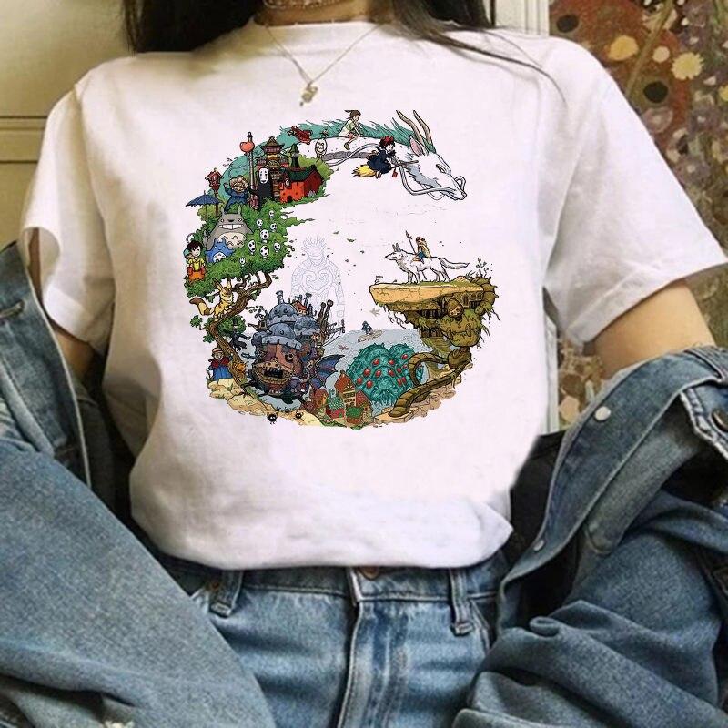 Camiseta Del fupetto di para mujer, camiseta de Totoro, camiseta de Chihiro stampata Studio Ghibli, Maglietta, anime Giapponese grafic