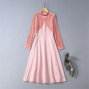 Image 2 - Victoria Beckham Kleid 2020 Hohe Qualität Runway Stehkragen Langarm Patchwork Samt Elegante Damen Kleider NP0813W
