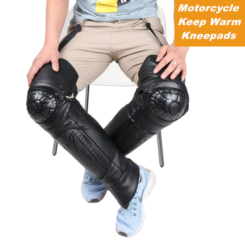 cheapest Motorcycle Long Knee Pads Full Cow Leather amp Fluff Lining Kneepad Winter Waterproof Kneepads Ski Skating Protector Warm Knee Pads