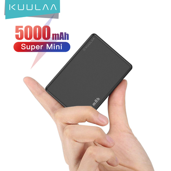 KUULAA Mini Power Bank 5000mAh Portable Charging PowerBank 5000 mAh USB PoverBank External Battery Charger For Xiaomi Mi 9 8 image