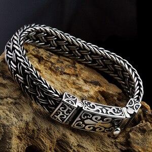 Image 3 - Real 925 prata esterlina cor pulseira masculino e feminino largura 11mm retro punk rock corrente e pulseira thai prata cor