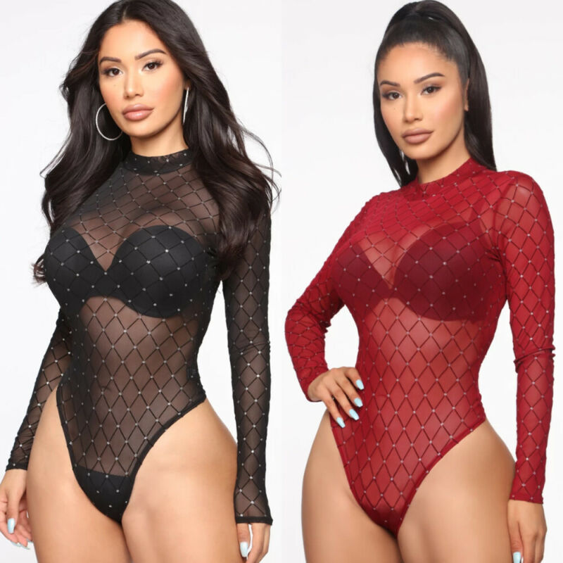 Hot Women Bodysuit Sexy Long Sleeve See Through PlaidOne Piece Rompers Club Top