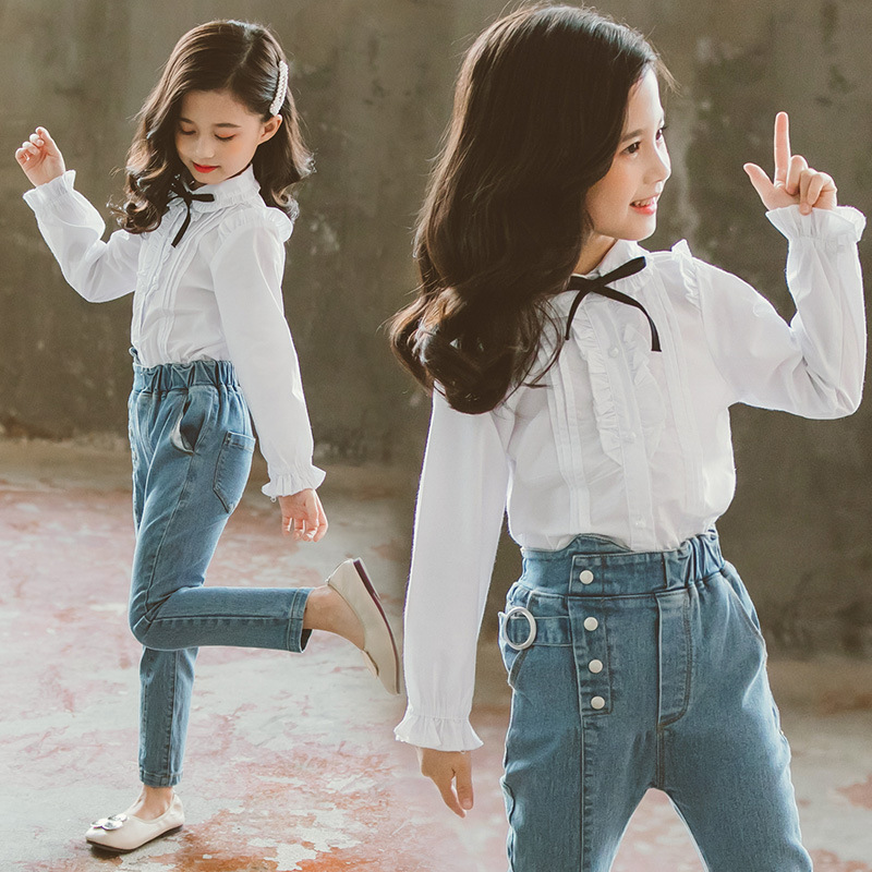 Childrens clothing new 2019 autumn white shirt+jeans 2pcs big girls clothing set autumn teens girls clothes jeans suit 5