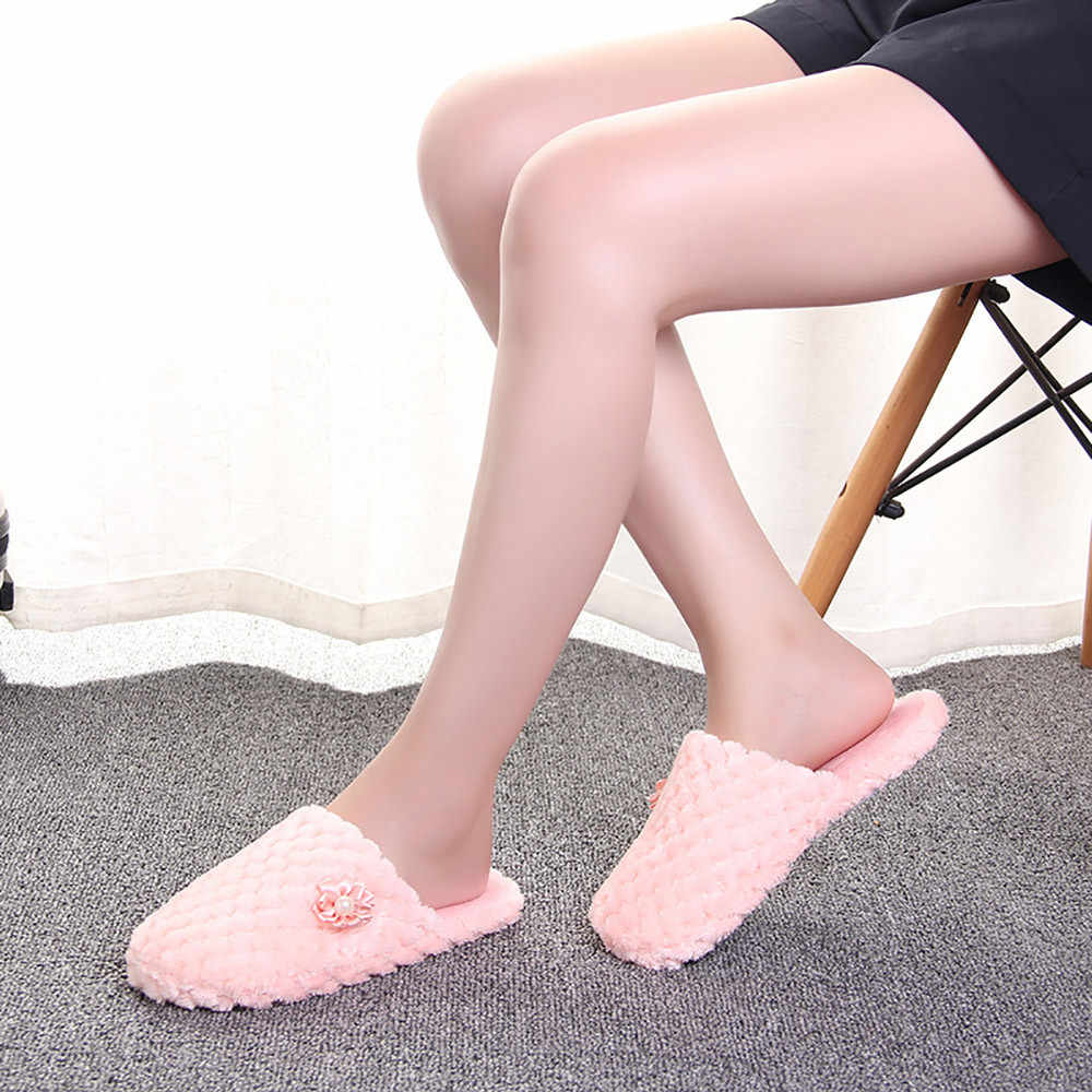 New Women Winter Slippers Shoes Soft Plush solid Non-Slip Floor Indoor Furry Shoes Slipper For House Home for Bedroom Slippers