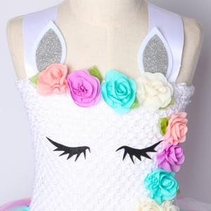 Image 5 - Kwiat dziewczyny jednorożec Tutu sukienka pastelowa tęcza księżniczka dziewczyny sukienka na przyjęcie urodzinowe dzieci dzieci Halloween jednorożec kostium 1 14Y