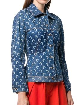 2021 kobiet nowy błękit wiosny szczupły nadruk z księżycem płaszcz dżinsowy moda kobieta luźne kurtki jesień panie marka płaszcz na co dzień tanie i dobre opinie Lucky Pocket Drukuj guzik REGULAR Wykładany kołnierzyk Mikrofibra COTTON Pełne STANDARD CN (pochodzenie) Na wiosnę jesień