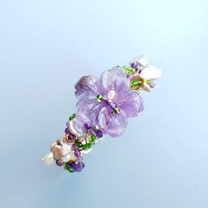Image 3 - Lii Ji Genuine Amethysts Diopside Freshwater Pearl Bracelet Handmade Jewelry Open Bangle  For Women Gift Drop Shipping
