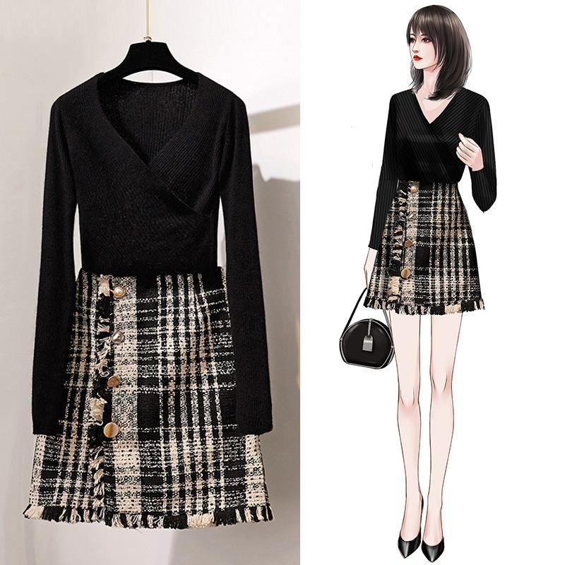 ICHOIX Tops And Skirt Set Sexy Women 2 Piece Set Black Knitted Sweater Tweed Mini Skirt 2 Piece Outfits Korean Style Winter Set