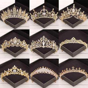 Barokowe kryształowe tiary i korony ślubne akcesoria do włosów korona ślubna Diadem złoto Rhinestone ślubne Tiara biżuteria do włosów ślubna tanie i dobre opinie NoEnName_Null Zinc Alloy TRENDY Hairwear Moda Crown PLANT Kobiety Crystal Tiaras And Crowns Wedding Hair Accessories Rhinestone Alloy Crystal