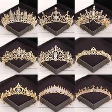 цена на Baroque Crystal Tiaras And Crowns Wedding Hair Accessories Bridal Crown Diadem Gold Rhinestone Wedding Tiara Bridal Hair Jewelry