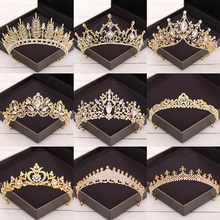 Tiaras y coronas barrocas de cristal, accesorios para el cabello de boda, corona nupcial, diadema de oro con diamantes de imitación, Tiara de boda, joyería para el cabello