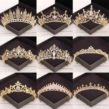 Jewelry Tiaras Hair-Accessories Crowns Rhinestone Crystal Bridal-Hair Wedding Diadem Gold