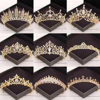 Baroque Crystal Tiaras And Crowns Wedding Hair Accessories Bridal Crown Diadem Gold Rhinestone Wedding Tiara Bridal Hair Jewelry