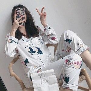 Image 2 - Womens Sleepwear Sexy Pajamas Sets Long Sleeve Top + Pants Autumn Winter Cute 2 Pieces Pyjama Pj Sets Ladies Cute Homewear