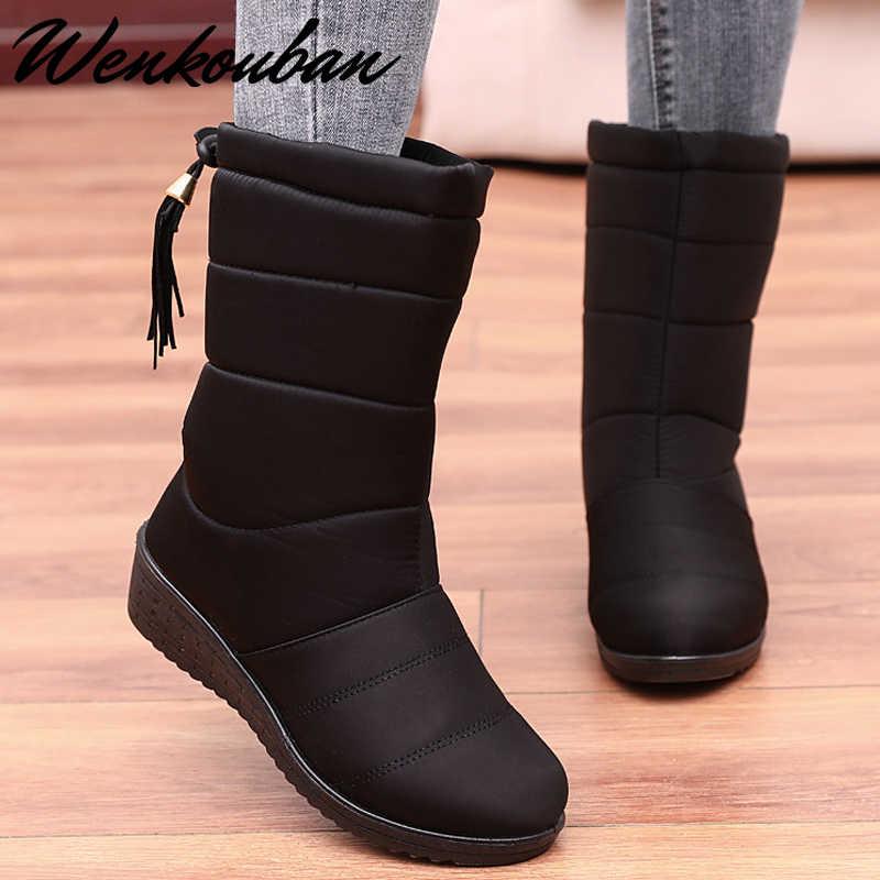 Su geçirmez kar botları kadın kışlık botlar bayan sıcak kama çizmeler peluş platform ayakkabılar kadın orta buzağı siyah çizmeler şişeler Femme