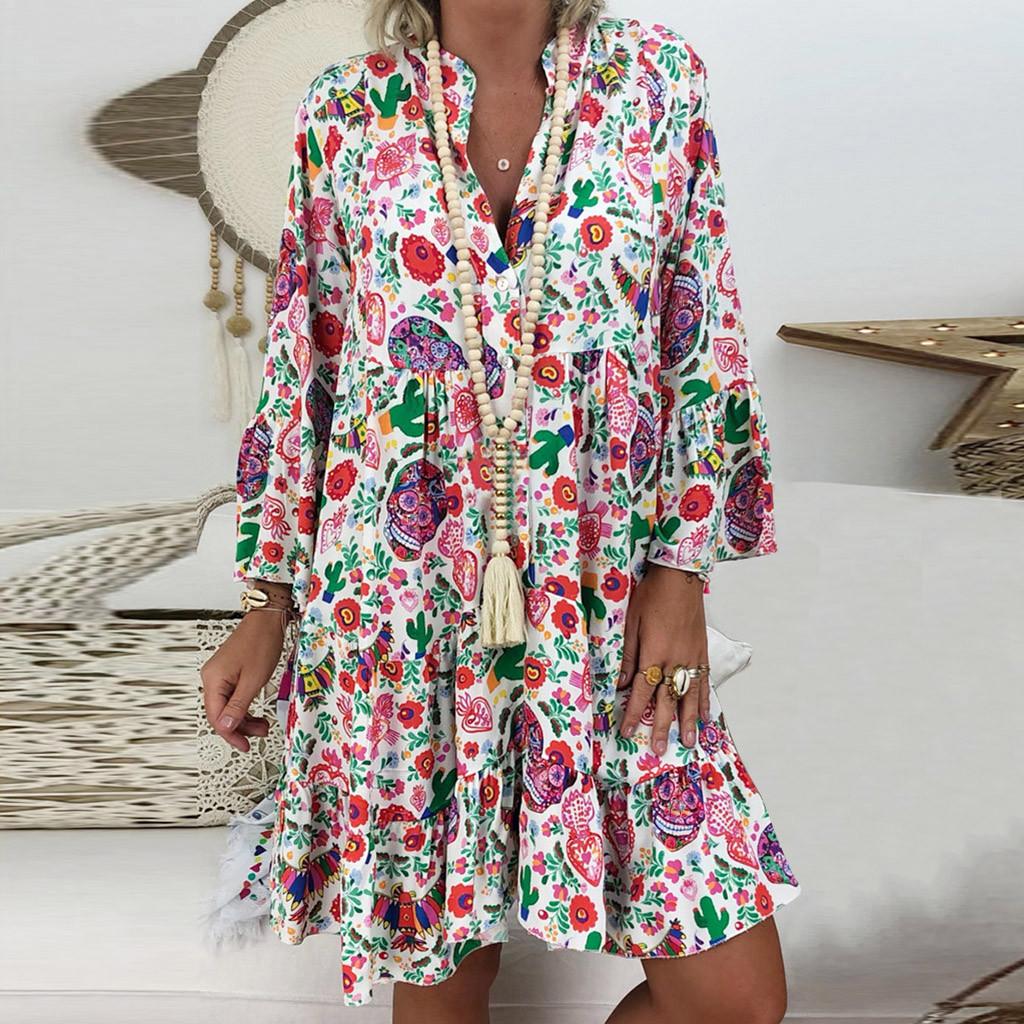 40# Loose Print Women's Dress Bohemian Vintage Elegant V neck Bohe Summer Dress 2021 Beach Evening Party Dress Платье Летнее