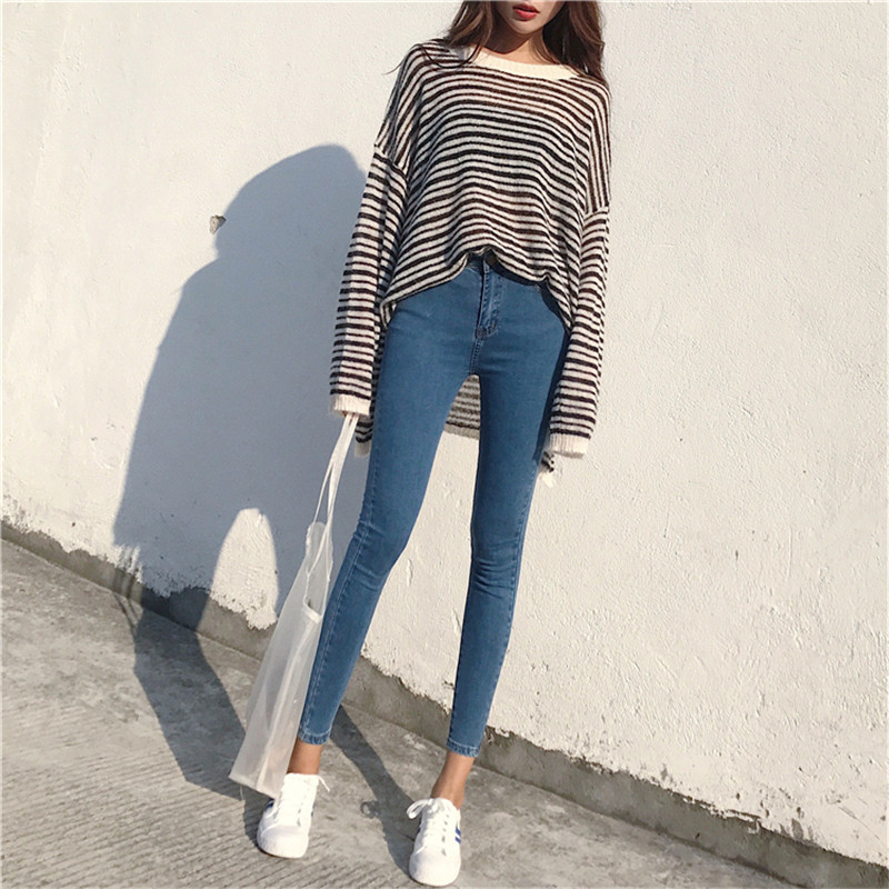 2020 new fashion Korean personality skinny stretch jeans women's high waist slim slimming simple and versatile pencil pants