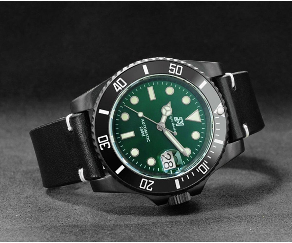 moldura cerâmica relógio mecânico pulseira de couro
